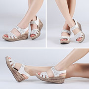 Leather Hollow Out Peep Toe Pattern Soft Comfortable Hook Loop Platform Sandals
