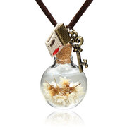 Dry Flower Glass Ball Pendant Long Chain Necklace