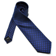 PenSee Men's Jacquard Woven Silk Big Wave Point Neckties Business Polyester Tie