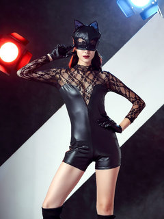 Catwomen Cosplay  Halloween Long Sleeve Lace Cat Bodysuit Leather Costume