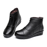Genuine Leather Front Zipper Soft Ankle Flat Boots