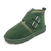 Suede Buckle Match Slip On Pure Color Fur Lining Casual Boots