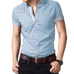 Mens Turn-down Collar Slim Fit Formal Short Sleeves Casual Camisa Male T-shirt