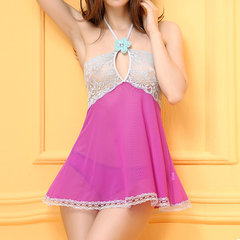 Sexy Gauze Halter Perspective Lace Patchwork Backless Temptation Babydoll For Women