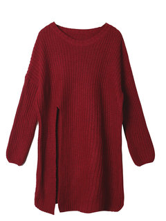 Casual Pure Color O-Neck Long Sleeve Split Long Sweater For Women