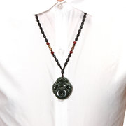 Nephrite Jade Necklace Jasper Old Jade Double Dragon Beads Necklace for Men