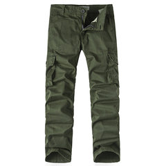 Mens Cargo Pants Brief Style Solid Color Loose Fit Outdoor Spring Fall Trouser