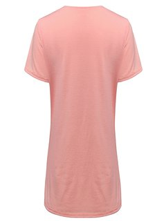 Pure Color Hollow Out Bust Casual Basic Women T-Shirts