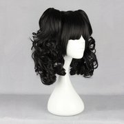 Harajuku Black Bunches Wavy Costume Cosplay Wig High Temperature Heat Friendly Synthetic