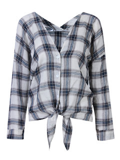 Casual Loose Plaid V Neck Long Sleeve Blouse For Women