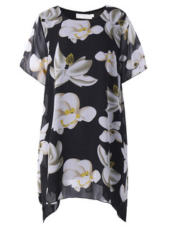 Plus Size Women Fashion Printed Short Sleeved Chiffon Dress