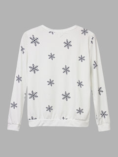 Casual Snowflake Printed Long Sleeve T-shirt For Women