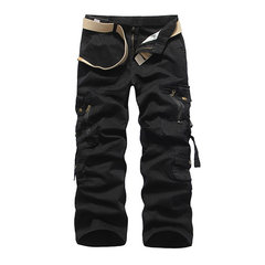 Mens Fall Multi-pockets Mid-waist Loose Fit Straight Leg Solid Color Cotton Cargo Pants