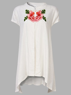 Folk Style Embroidery Stand Collar High Low T-Shirt For Women
