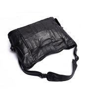 Женщины из натуральной кожи овчины Черный Элегантный сумки большой емкости сумки на ремне
