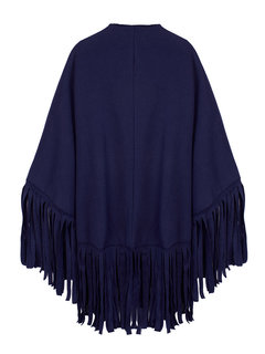Pure Color Fringed Suede  Women Cardigan Cappa