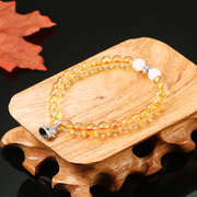 6mm Natural Crystal Citrine Bracelet Topaz Fine Jewelry Maneki Neko Plutus Cat