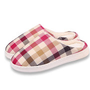 Unisex Plaid Keep Warm Indoor Flat Home Shoes