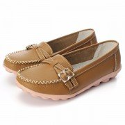 Leather Double Buckle Soft Sole Slip On Casual Flat Loafers