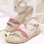 Leather Color Match Simple Elegant Peep Toe Buckle Flat Sandals