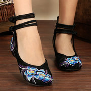 Heel Increasing Flower Flat Slip On Embroidery National Wind Shoes