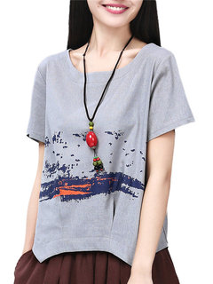 Casual Women Printing High Low Pleated Cotton Linen T-shirt