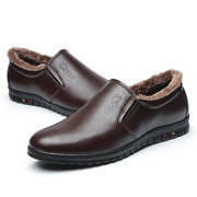 Fur Lining Letter Slip On Business Casual Flat Warm Shoes For Men
