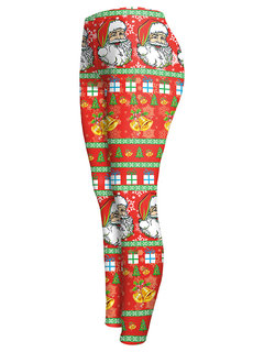 Christmas Santa Claus Printed High Waist Stretch Pencil Pants