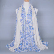 180*90CM Women Lady Flower Printed Voile Flower Scarves Scarf Soft Wrap Shawl Long Scarf