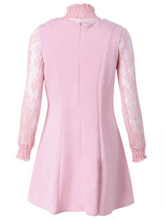 Sexy Transparent Lace Stand Collar Layer Long Sleeve Women Dress