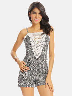 Women Floral Print Lace Stitching Hollow Sleeveless Backless Jumpsuit
