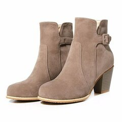 Beige High Block Chunky Heel Ankle Belt Buckle Preppy Casual Boots