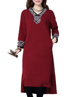 Vintage Printed Patchwork Long Sleeve Cotton High Low Dress Maxi Dress
