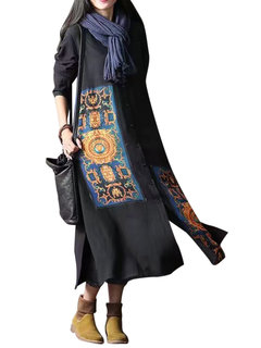 Ethnic Vintage Printed Lapel Long Sleeve Button Cardigan For Women