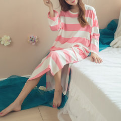 Casual Stripe Cotton Long Sleeve Nightgown Loose Sleepwear For Women