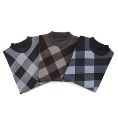 Mens Fall Winter Knitting Sweater Thick Warm Checks Pattern Long Sleeve Tops