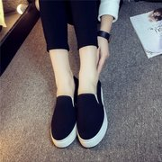 Canvas Casual Black Slip On Flat Shoes For Women