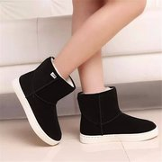 Pure Color Slip On Ankle Flat Boots