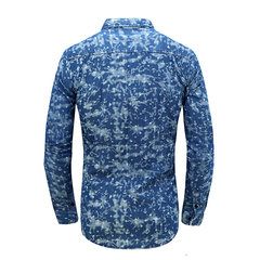 Mens Fall Blue White hooks Printing Turndown Collar Long Sleeve Slim Fit  Casual Shirts
