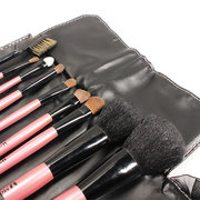 9Pcs Soft Wool Cosmetic Brushes Set Pink Beauty Facial Brush With Makeup Bag