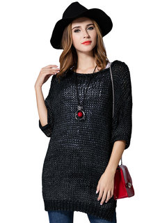 Elegant Loose Women Hollow Out Pure Color Half Sleeve Knitted Pullover Sweater