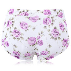 Sexy Breathable Printing Ice Silk Panties Mid Waist Underwear For Women