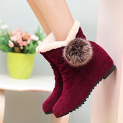 Heel Increasing Ball Cute Ankle Fur Lining Suede Slip On Boots