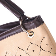 Hollow Out Stylish Handbag PU Leather Tote Bucket Bags For Women