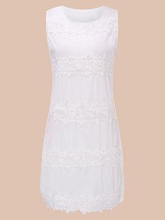 Кружева рукавов белый мини летнее платье O-образным вырезом женщин