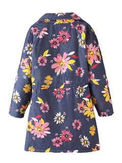Vintage Women Long Sleeve Floral Printed Thicken Lapel Coat