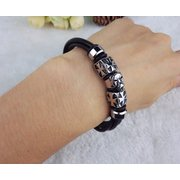 Woven Cross Cheetah Head Magnetic Buckle Bracelet