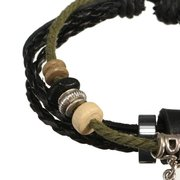 Wooden Beads Leaf Leather Rope Wrap Bracelet