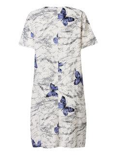 Повседневный Бабочка печать O-Шея A-Line Midi платье для женщин