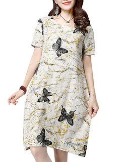 Casual Butterfly Printing O-Neck A-Line Midi Dress For Women